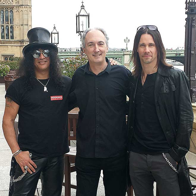 Mike Weatherley with Slash and Myles Kennedy